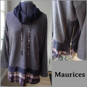 Maurices Cowl Neck Sweatshirt w/ Side Zippers